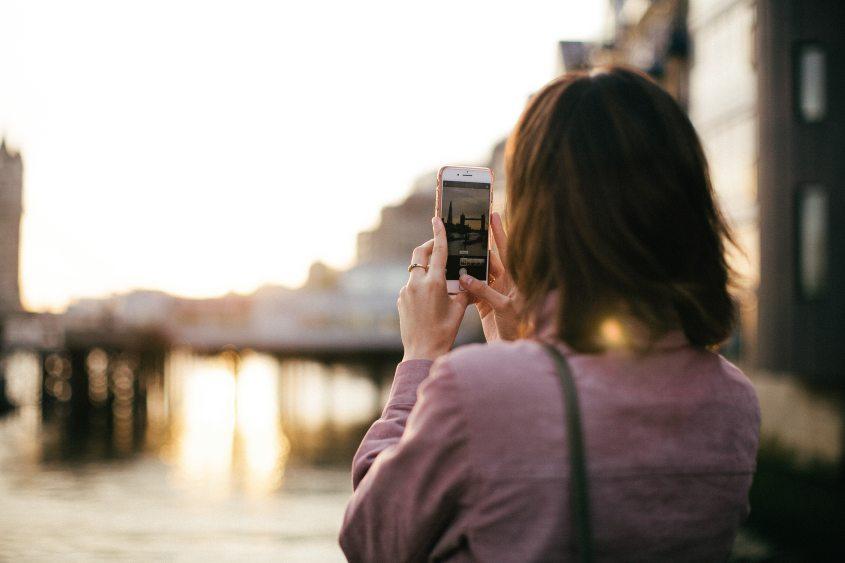 Tourist using smartphone